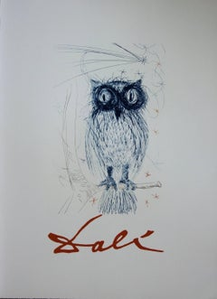 The Blue Owl - Lithograph - Edited by J. Schneider, 1983