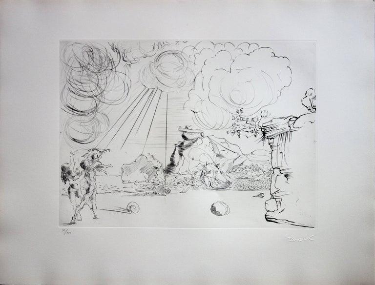 Seascape at Cadaques - Original etching - 50ex / 1967 - Surrealist Print by Salvador Dalí