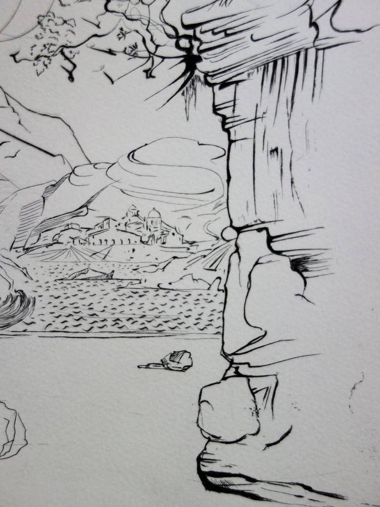 Seascape at Cadaques - Original etching - 50ex / 1967 - Gray Landscape Print by Salvador Dalí