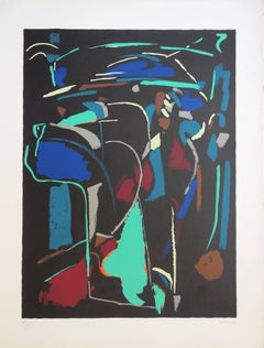 Abstract Composition on Black Background - Original handsigned lithograph