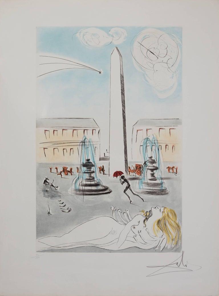 Salvador Dalí Figurative Print - Gala et l'obélisque de la Concorde - Original Handsigned Etching 1963