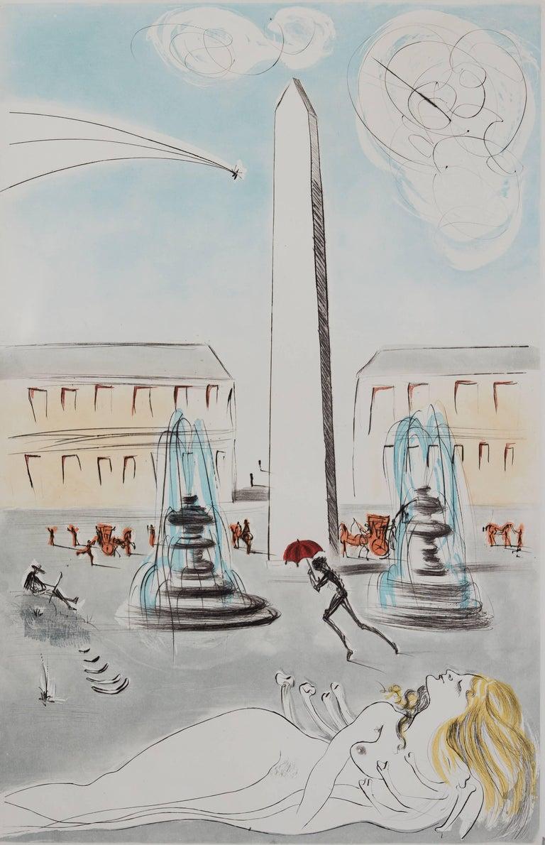 Gala et l'obélisque de la Concorde - Original Handsigned Etching 1963 - Print by Salvador Dalí