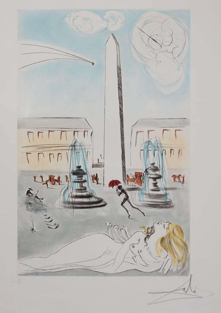 Gala et l'obélisque de la Concorde - Original Handsigned Etching 1963 - Surrealist Print by Salvador Dalí