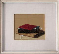 Books and Spring Flower - Original Oil on panel - Signed, 1971