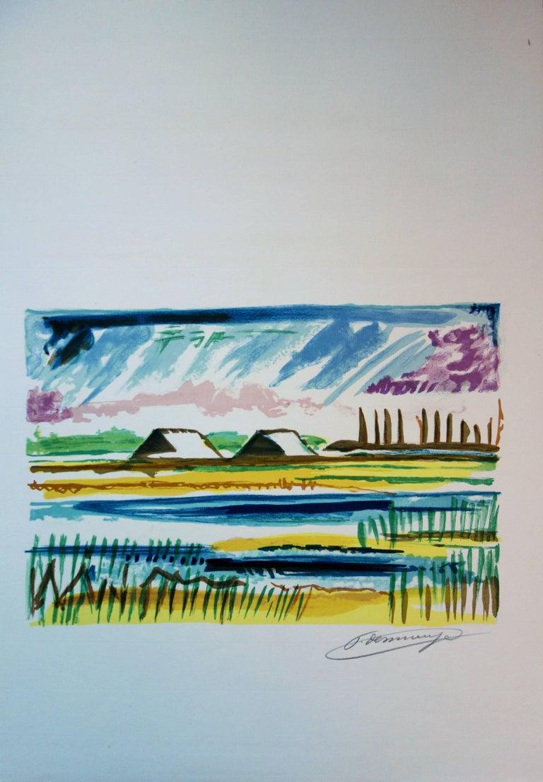 Salt Marshes - Original handsigned lithograph - Post-Impressionist Print by François Desnoyer