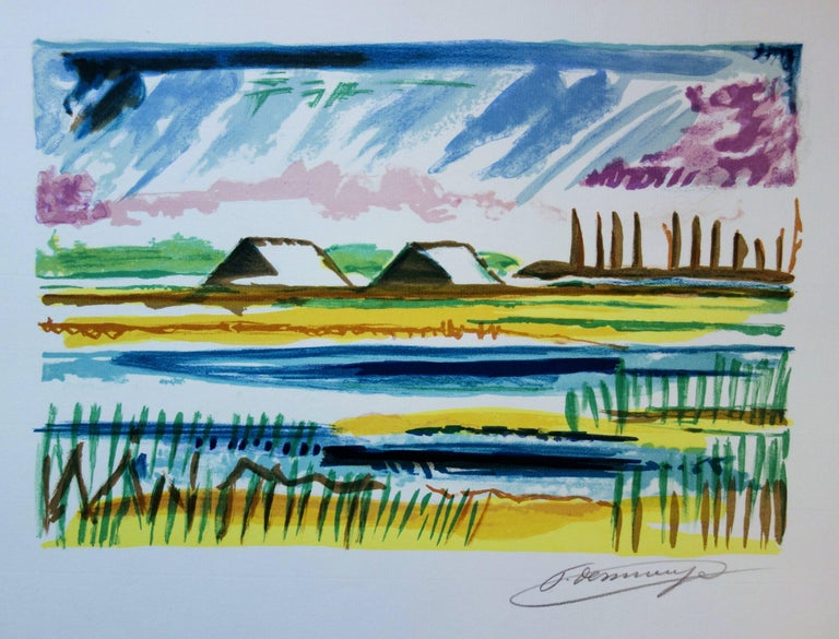 François Desnoyer Landscape Print - Salt Marshes - Original handsigned lithograph