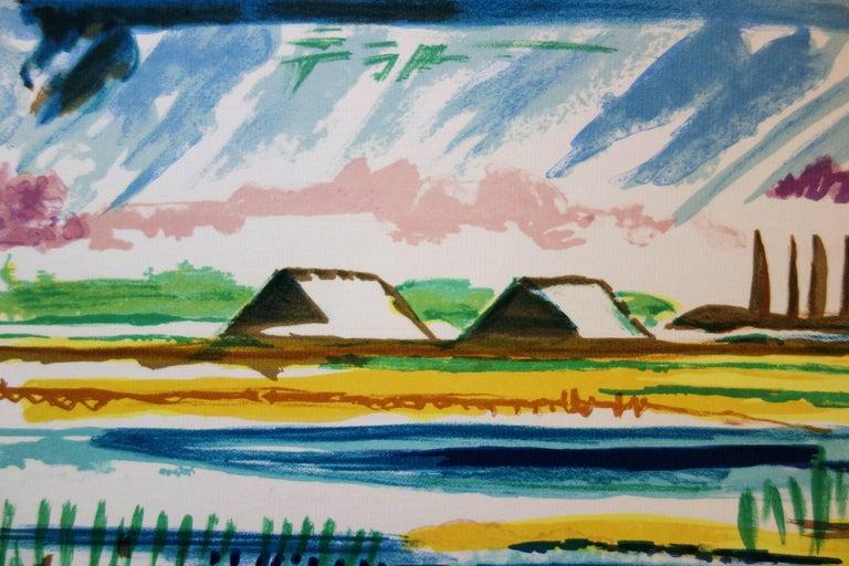 Salt Marshes - Original handsigned lithograph - Blue Landscape Print by François Desnoyer
