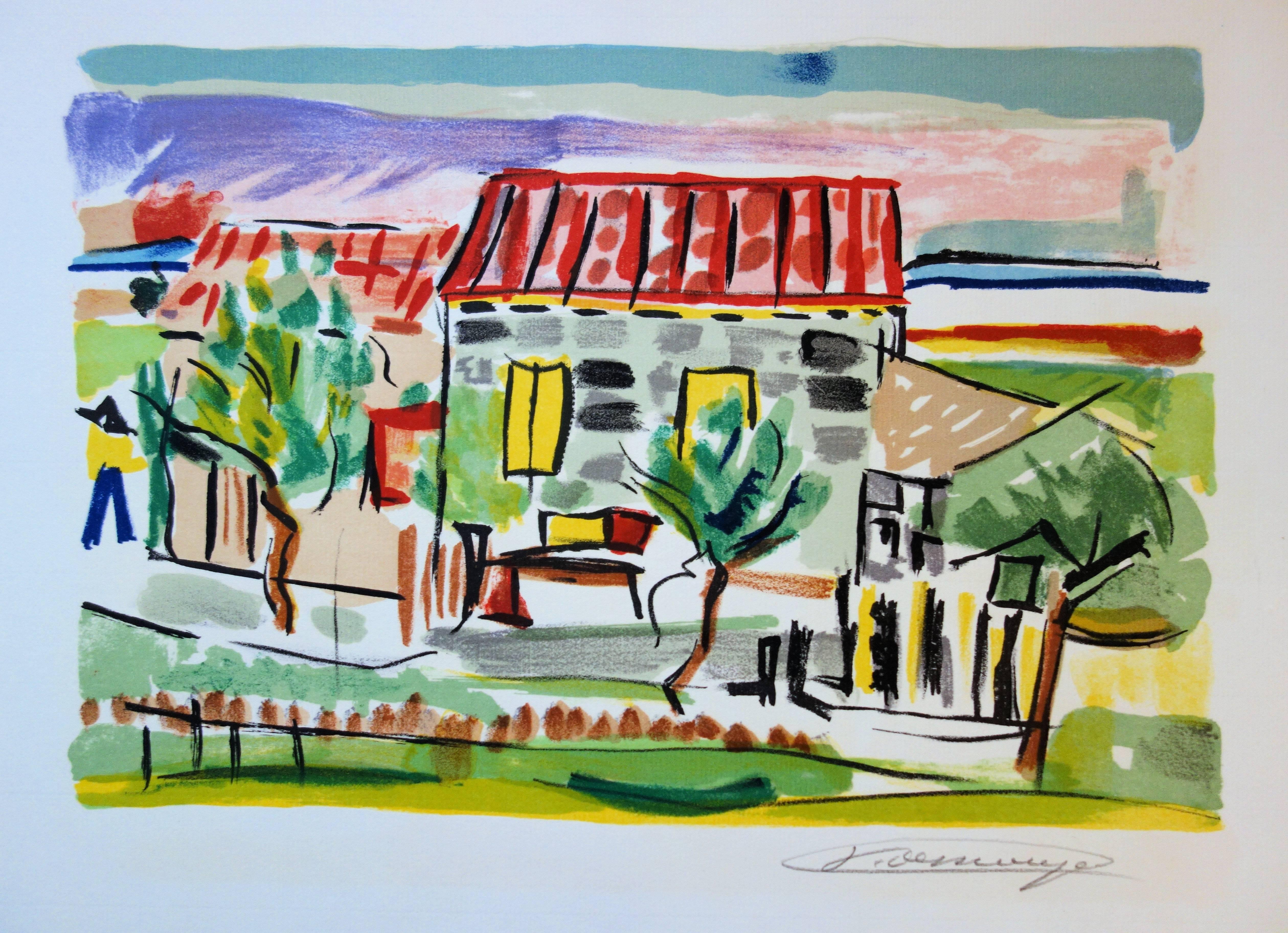 Red Roof House - Original handsigned lithograph