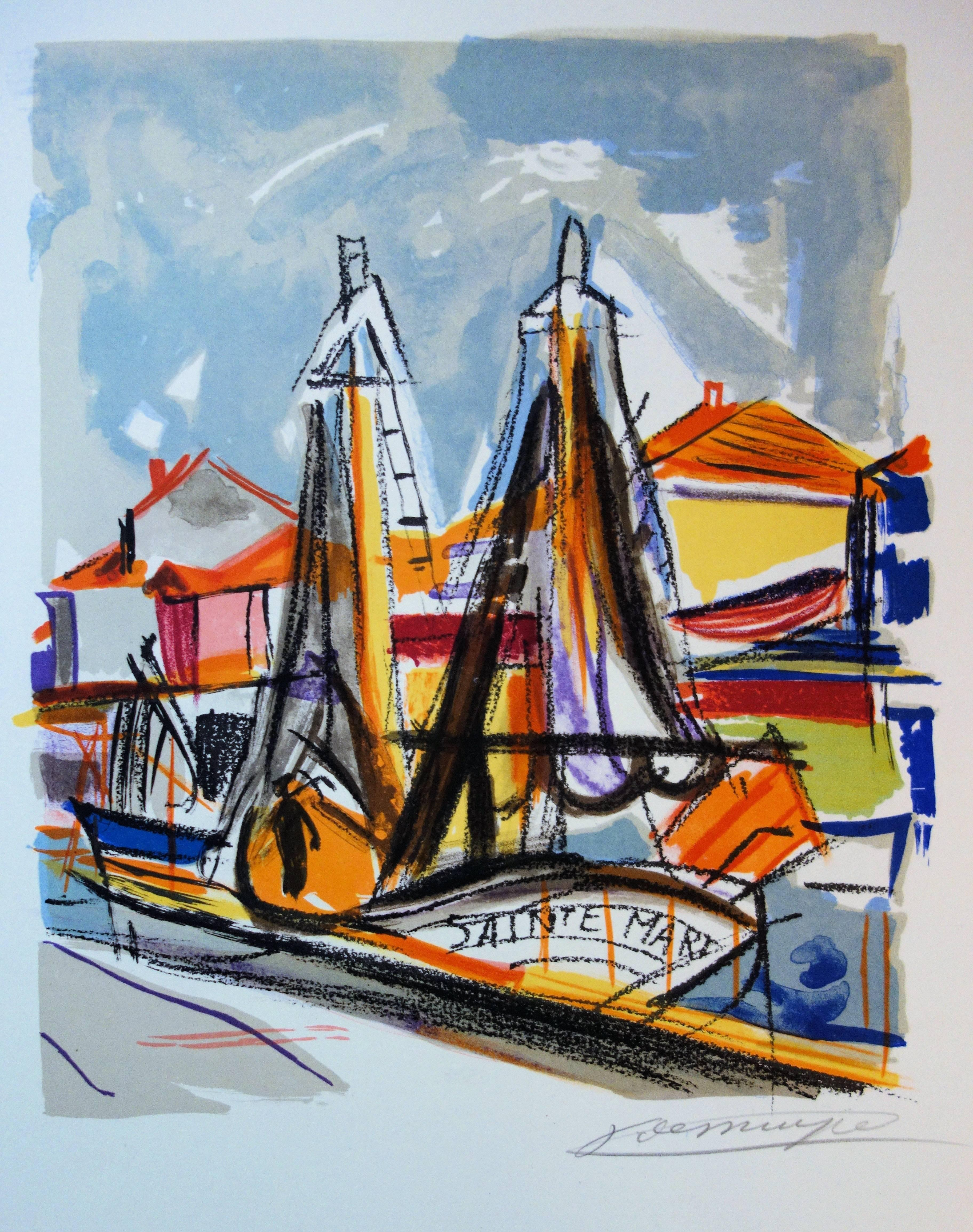 Brittain Small Harbour - Original handsigned lithograph