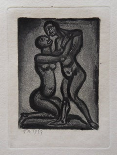 Couple Hugging - Original etching - 1929