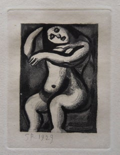 Woman Cleaning her Hair - Original etching - 1929