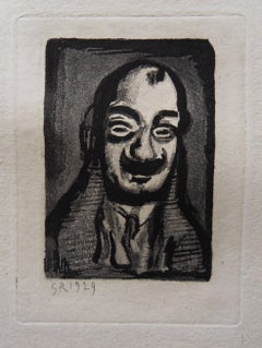 Smilling Man with Mustach - Original etching 1929