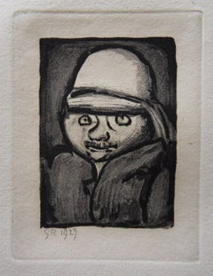 Man with Colonial Hat - Original etching 1929