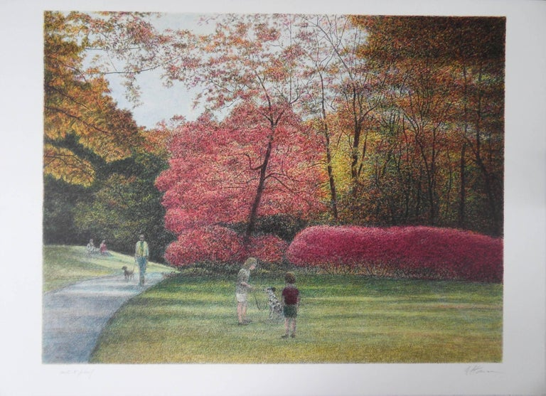 New York : Fall, Indian Summer in Central Park - Original handsigned lithograph