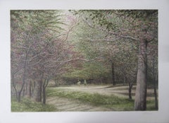 New York : Horsemen in Central Park - Original handsigned lithograh