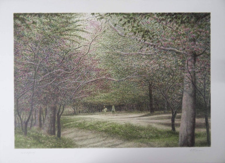 New York : Horsemen in Central Park - Original handsigned lithograh