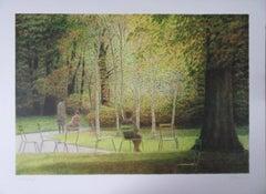 New York : Break in Central Park - Original handsigned lithograph