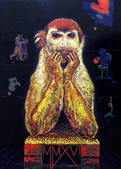 Tereza LOCHMANN - Year of the Monkey - Original handsigned linocut, limited edition of 15 prints