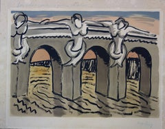 Bridge with Mermaids - Original handsigned lithograph