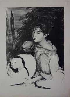 Young Woman with a Hat - Original lithograph