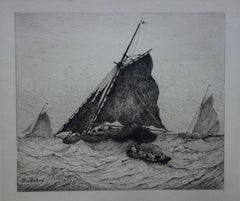 Rescue at Sea during the Storm - Original etching