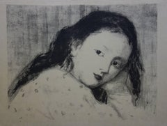 Study of Dreaming Girl - Original lithograph - 1894