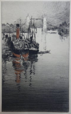 London Tower Bridge Viewed from the Thames - Original etching - 1910