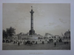Paris : The Column with an Angel on Bastille Square - Original stone lithograph