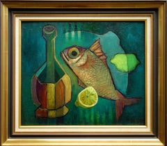 Fish and Bottle - Original oil painting - Signed
