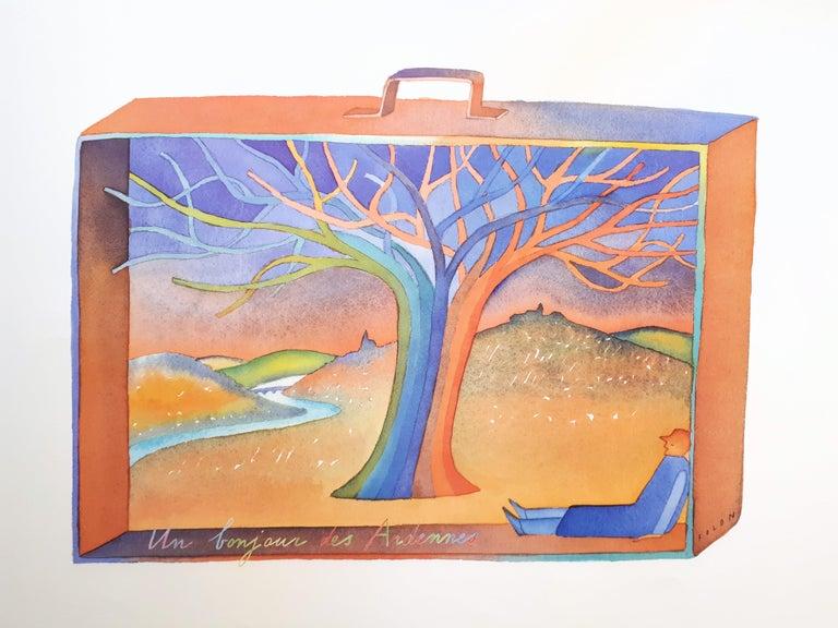 Jean Michel Folon Figurative Print - Ardennes, Dream in a Suitcase - Offset art print
