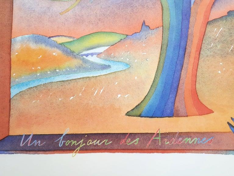 Ardennes, Dream in a Suitcase - Offset art print - Beige Figurative Print by Jean Michel Folon