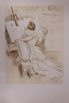 Woman painting - Original stone lithograph - 1901
