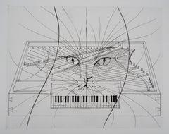 Piano Cat - Original Etching