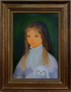 Young Girl with White Dog - Original oil on canvas