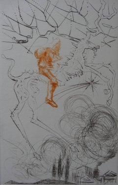 Santa Claus Greeting Card - original etching - signed in pencil - 1968