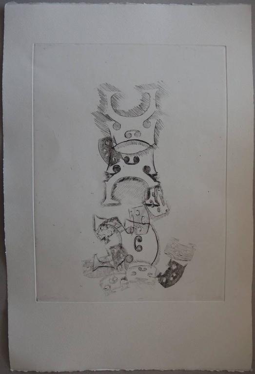 Fernandez Arman Figurative Print - Stacking of bridges - Original etching - 75 copies