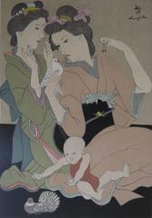 Japanese Geishas with a Dove - Original signed woodcut - 1932