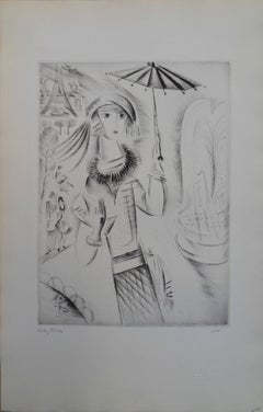 Girl with an umbrella - Etching, Handsigned