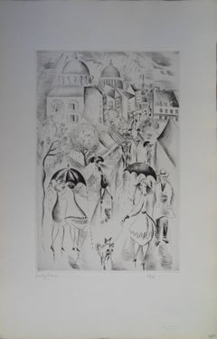 Under the rain - Etching, Handsigned