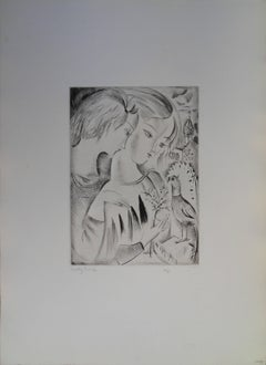 Girls with a parrot - Etching, Handsigned