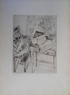 Sleeping cat - Etching, Handsigned