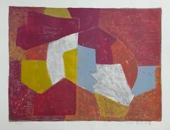 Composition Carmin, Brune, Jaune et Grise - Original Handsigned Lithograph
