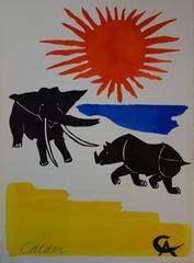 Elephant & Rhinoceros - Original handsigned lithograph - 1966
