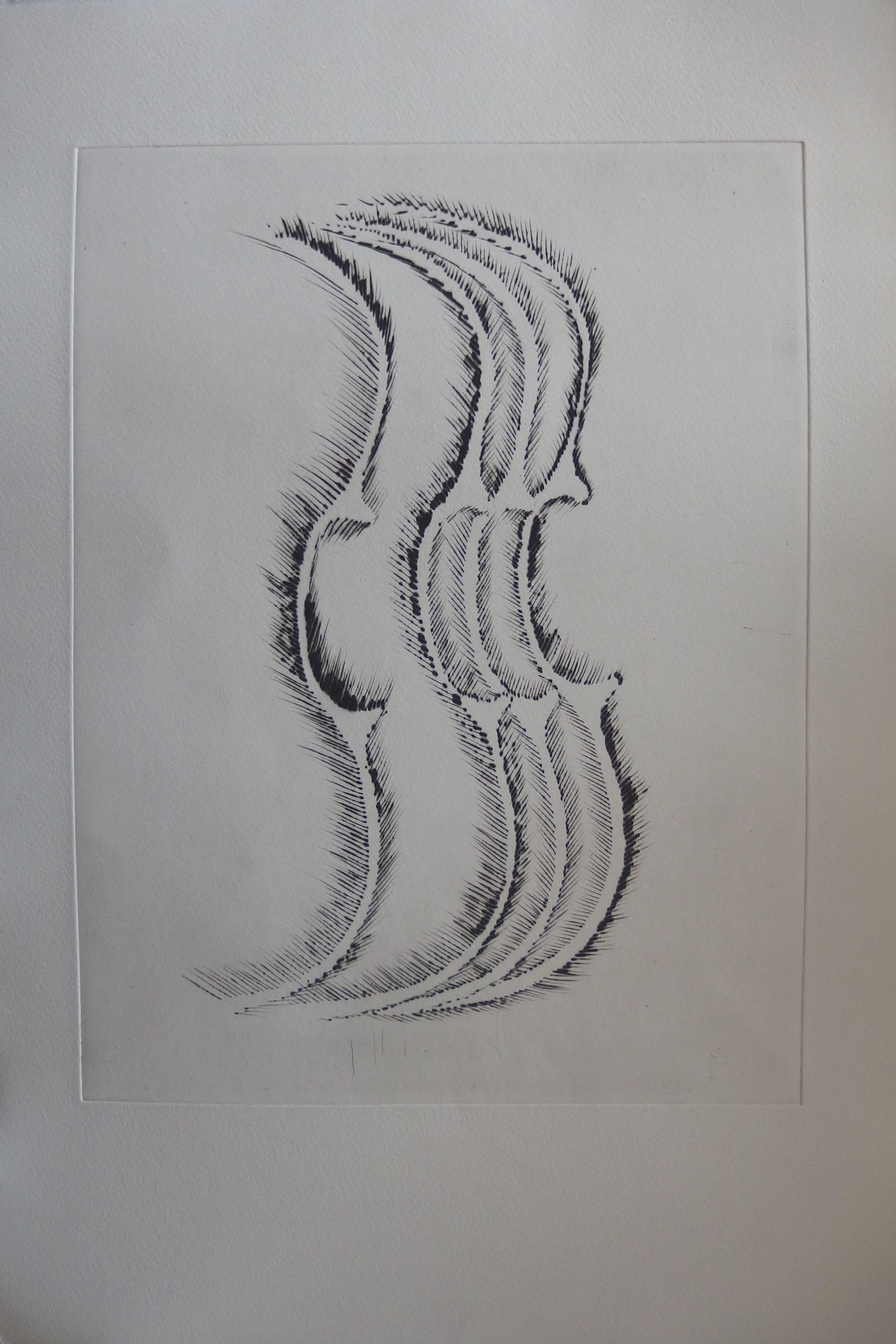 Violin profile - Original etching - 1979