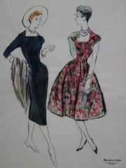 Mode Drawing : Black and Color Dresses - Original watercolor & Gouache drawing
