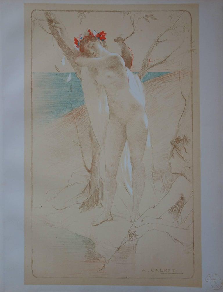 Antoine Calbet Nude Print - L'Inconnue - Original lithograph - 1897