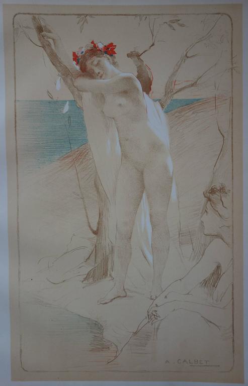L'Inconnue - Original lithograph - 1897 - Art Nouveau Print by Antoine Calbet