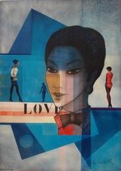LOVE (Woman in Blue) - Original signed watercolor - 1993