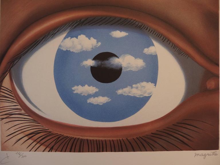After ren magritte le faux miroir lithograph print for Rene magritte le faux miroir