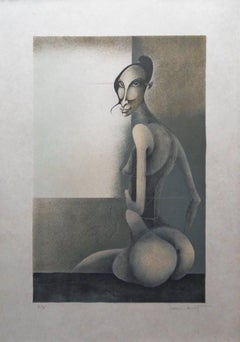 Seated Surrealist Model - Handsigned lithograph
